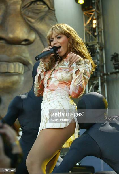 Singer Beyonce Knowles at the 46664 Give One Minute of Your Life to AIDS concert at Greenpoint Stadium on November 29 2003 in Cape Town South Africa...