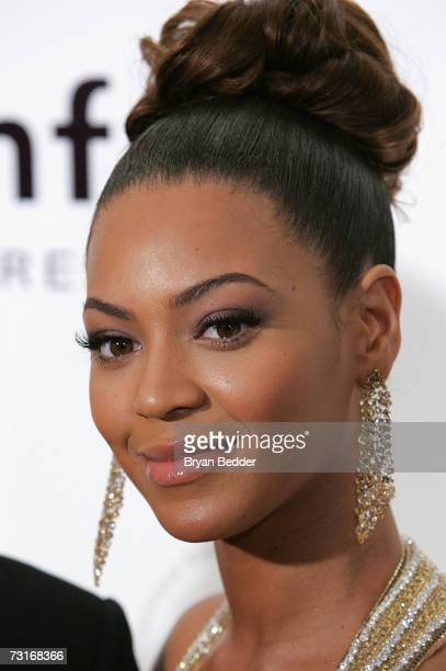 Singer Beyonce Knowles attends the AmFAR Gala honoring the work of John Demsey and Whoopi Goldberg at Cipriani 42nd Street January 31 2007 in New...