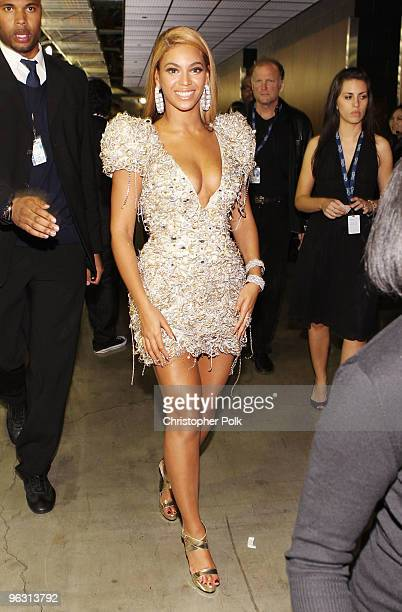 Singer Beyonce Knowles backstage during the 52nd Annual GRAMMY Awards held at Staples Center on January 31, 2010 in Los Angeles, California.