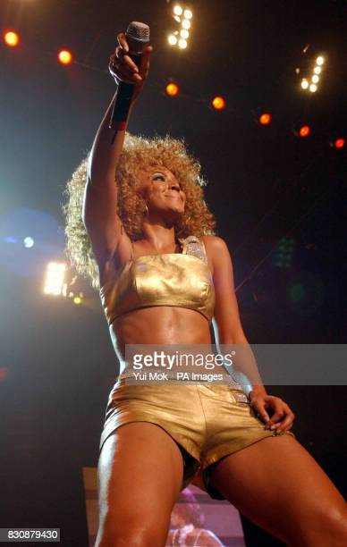Singer Beyonce Knowles from the US R'n'B band Destiny's Child performing on stage at the London Arena in Docklands London