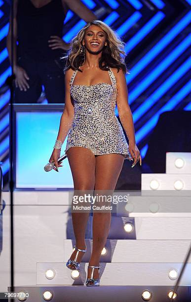 Singer Beyonce Knowles on stage at the 50th Annual GRAMMY Awards at the Staples Center on February 10 2008 in Los Angeles California