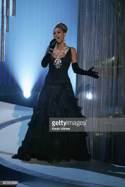 Singer Beyonce Knowles performs Best Song nominee 'Learn to be Lonely' from 'The Phantom of the Opera' on stage during the 77th Annual Academy Awards...