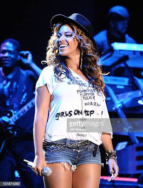 Singer Beyonce Knowles performs during day 1 of the Coachella Valley Music Arts Festival 2010 held at The Empire Polo Club on April 16 2010 in Indio...