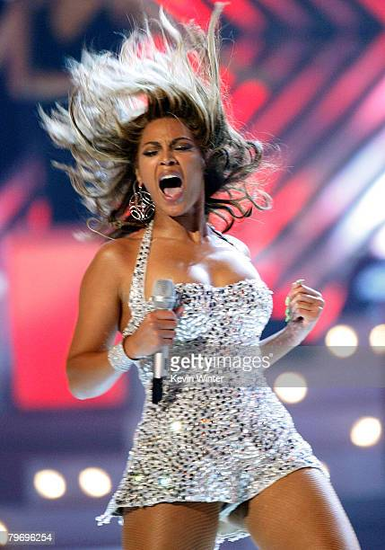 Singer Beyonce Knowles performs onstage during the 50th annual Grammy awards held at the Staples Center on February 10 2008 in Los Angeles California