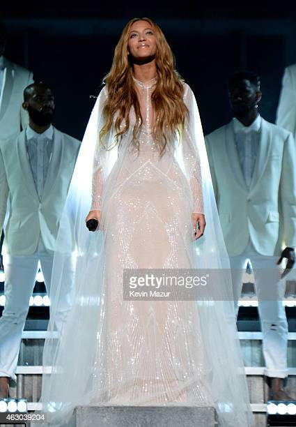Singer Beyonce Knowles performs onstage during The 57th Annual GRAMMY Awards at the STAPLES Center on February 8 2015 in Los Angeles California