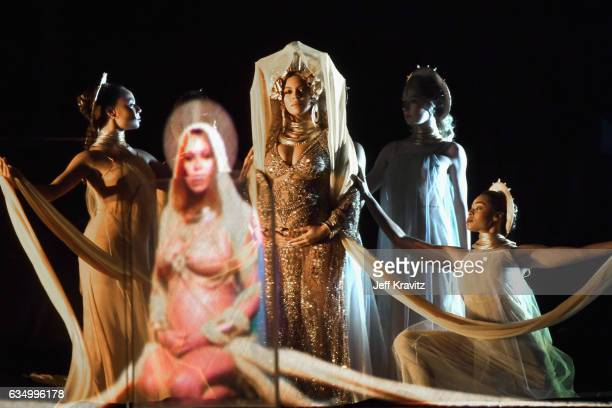 Singer Beyonce Knowles performs onstage during The 59th GRAMMY Awards at STAPLES Center on February 12 2017 in Los Angeles California