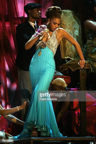 "Singer Beyonce Knowles performs the song ""Dangerously in Love"" at the 46th Annual Grammy Awards held at the Staples Center on February 8, 2004 in Los..."