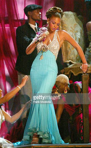 Singer Beyonce Knowles performs the song 'Dangerously in Love' at the 46th Annual Grammy Awards held at the Staples Center on February 8 2004 in Los...