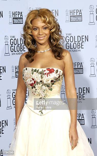 Singer Beyonce Knowles poses backstage during the 60th Annual Golden Globe Awards at the Beverly Hilton Hotel on January 19 2003 in Beverly Hills...