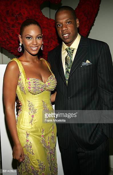 Singer Beyonce Knowles poses with JayZ at the Beyonce Beyond the Red Carpet auction presented by Beyonce and her mother Tina Knowles along with the...