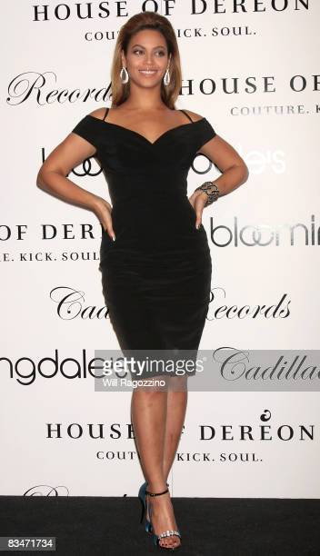 Singer Beyonce Knowles promotes the new House of Dereon collection inspired by the movie 'Cadillac Records' at Bloomingdale's on 59th Street on...