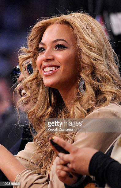 Singer Beyonce Knowles sits in the audience during the 2011 NBA AllStar game at Staples Center on February 20 2011 in Los Angeles California NOTE TO...