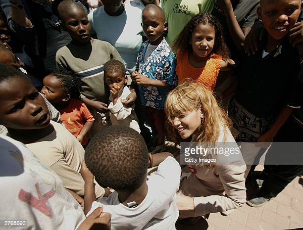 Singer Beyonce Knowles visits the Baphumelele orphanage for children with AIDS whose parents have died of AIDS prior to the 46664 Give One Minute Of...