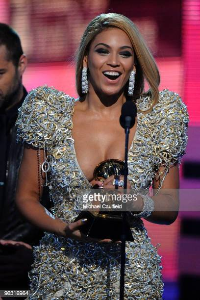 Singer Beyonce onstage at the 52nd Annual GRAMMY Awards held at Staples Center on January 31 2010 in Los Angeles California