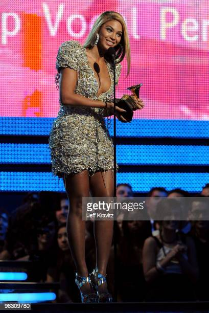 Singer Beyonce onstage during the 52nd Annual GRAMMY Awards held at Staples Center on January 31 2010 in Los Angeles California