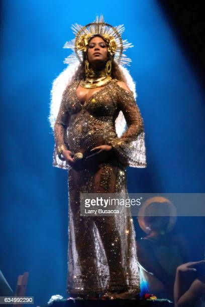 Singer Beyonce performs during The 59th GRAMMY Awards at STAPLES Center on February 12, 2017 in Los Angeles, California.