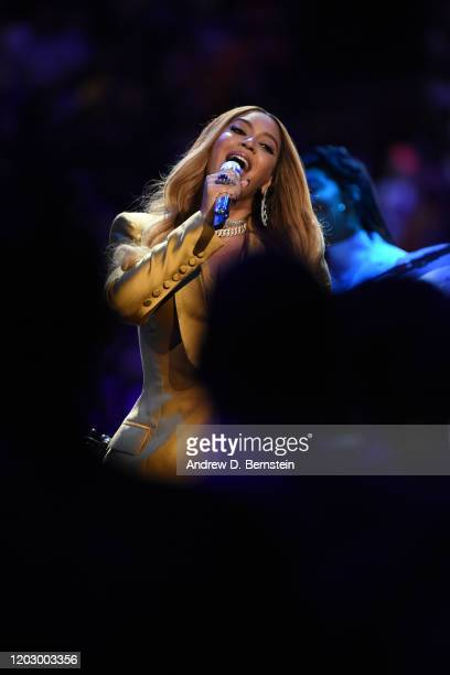 Singer, Beyonce performs during the Kobe Bryant Memorial Service on February 24, 2020 at STAPLES Center in Los Angeles, California. NOTE TO USER:...