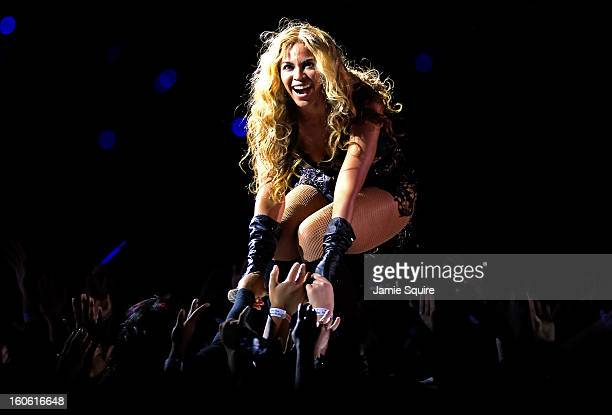 Singer Beyonce performs during the Pepsi Super Bowl XLVII Halftime Show at the MercedesBenz Superdome on February 3 2013 in New Orleans Louisiana
