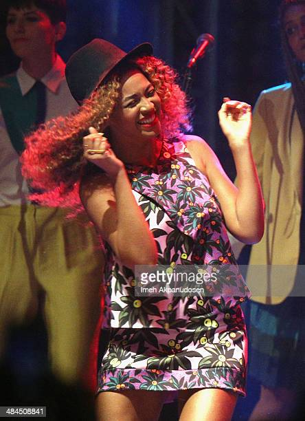 Singer Beyonce performs onstage during day 2 of the 2014 Coachella Valley Music Arts Festival at the Empire Polo Club on April 12 2014 in Indio...