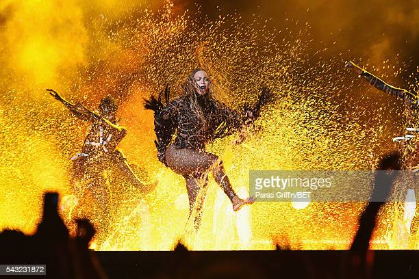 Singer Beyonce performs onstage during the 2016 BET Awards at the Microsoft Theater on June 26 2016 in Los Angeles California