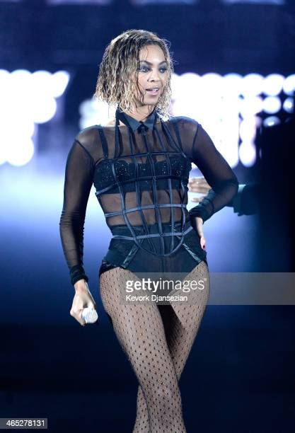 Singer Beyonce performs onstage during the 56th GRAMMY Awards at Staples Center on January 26 2014 in Los Angeles California