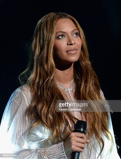 Singer Beyonce performs Precious Lord Take My Hand onstage during The 57th Annual GRAMMY Awards at the at the STAPLES Center on February 8 2015 in...