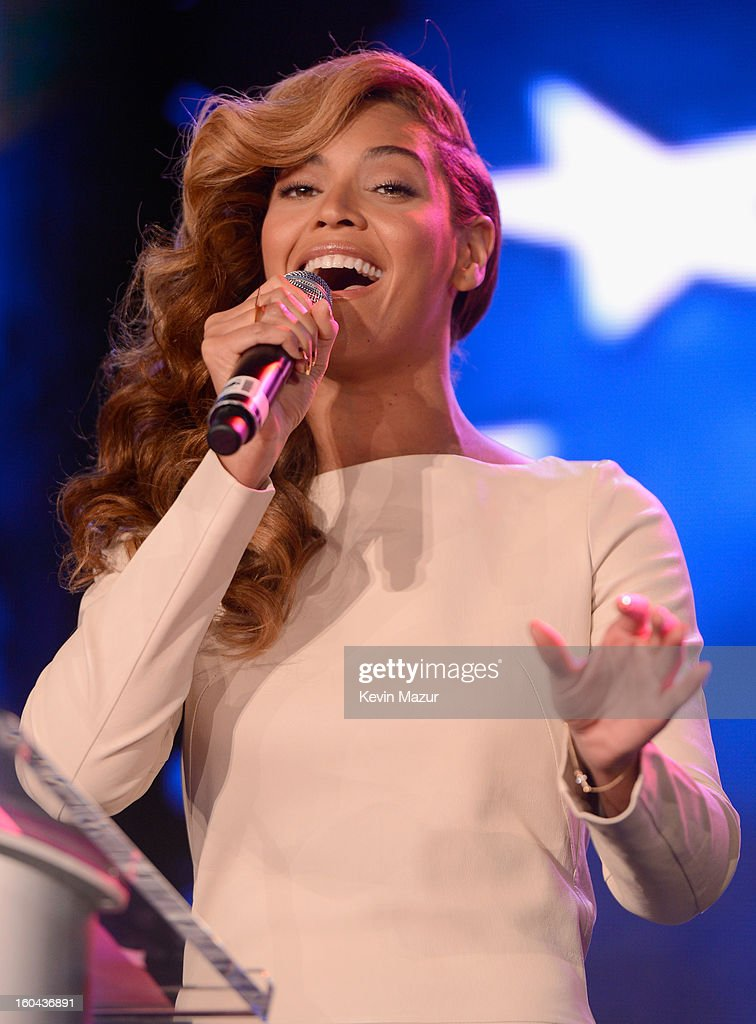 Singer Beyonce performs the National Anthem at the Pepsi Super Bowl XLVII Halftime Show Press Conference at the Ernest N. Morial Convention Center on January 31, 2013 in New Orleans, Louisiana.