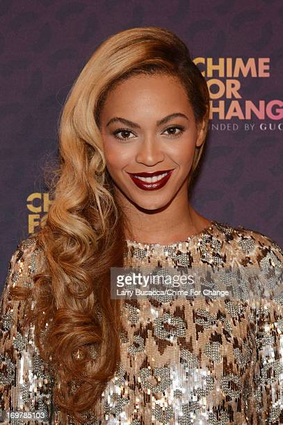Singer Beyonce poses backstage behind the scenes at the Chime For Change The Sound Of Change Live Concert at Twickenham Stadium on June 1 2013 in...
