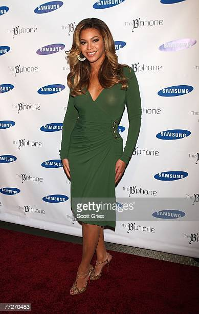 Singer Beyonce poses for a photo during a press conference to annouce the new 'B'Phone' by Samsung at the Samsung Experience Store on October 11 2007...