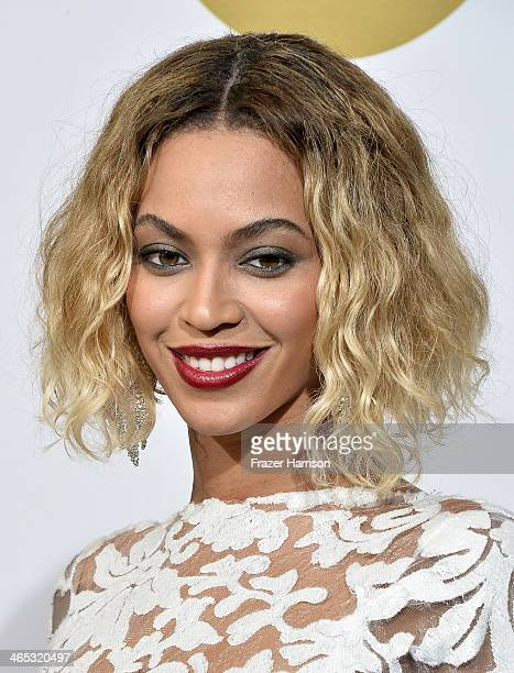 Singer Beyonce poses in the press room during the 56th GRAMMY Awards at Staples Center on January 26 2014 in Los Angeles California