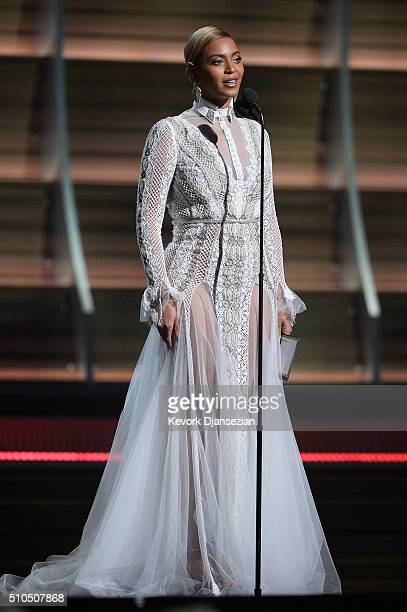 Singer Beyonce speaks onstage during The 58th GRAMMY Awards at Staples Center on February 15, 2016 in Los Angeles, California.
