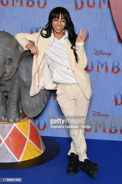 """Singer Bilal Hassani attends the """"Dumbo"""" Paris Gala Screening at Cinema Le Grand Rex on March 18 2019 in Paris France"""