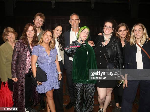 Singer Billie Eilish and brother Finneas O'Connell pose with family and friends backstage at Harry Potter and The Cursed Child Parts 1 2 on Broadway...