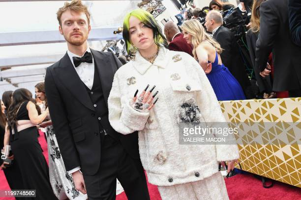 Singer Billie Eilish and her brother Finneas arrive for the 92nd Oscars at the Dolby Theatre in Hollywood California on February 9 2020