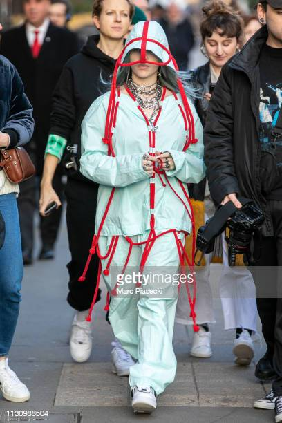 Singer Billie Eilish is seen on Avenue Montaigne on February 20 2019 in Paris France