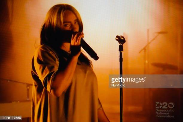 Singer Billie Eilish performs during the virtual 2020 Democratic National Convention livestreamed online and viewed on a laptop screen from London...