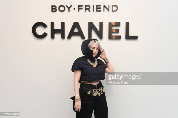 Singer Billie Eilish wearing CHANEL attends as CHANEL celebrates the launch of the Coco Club a BoyFriend Watch event at The Wing Soho on November 10...