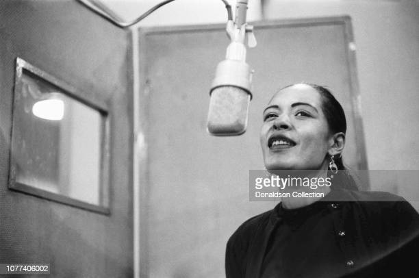 Singer Billie Holiday records her penultimate album 'Lady in Satin' at the Columbia Records studio in December 1957 in New York City New York