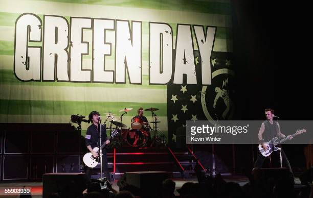 Singer Billie Joe Armstrong drummer Tre Cool and bass player Mike Dirnt appear onstage at 'Green Day Performs Live on AOL Music' at the Wiltern...