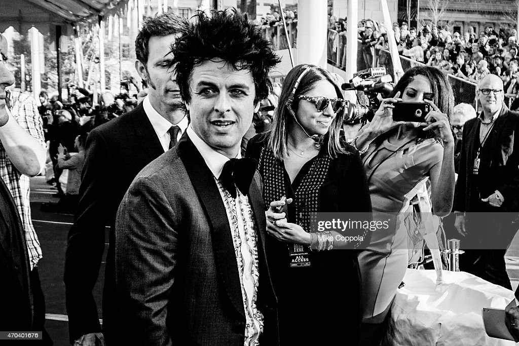 Singer Billie Joe Armstrong of the band Green Day attends the 30th Annual Rock And Roll Hall Of Fame Induction Ceremony at Public Hall on April 18, 2015 in Cleveland, Ohio.