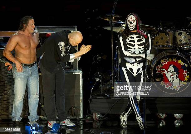 US singer Billy Corgan from the rock band Smashing Pumpkins with Mexican wrestler La Parka during the World Stage of MTV show at the Auditorio...