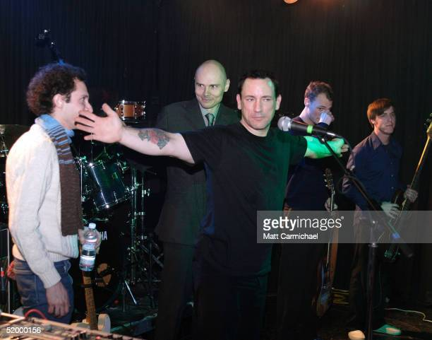 Singer Billy Corgan joins on stage his former drummer Jimmy Chamberlin who used to play with Smashing Pumpkins and Zwan on January 15 2005 at the...