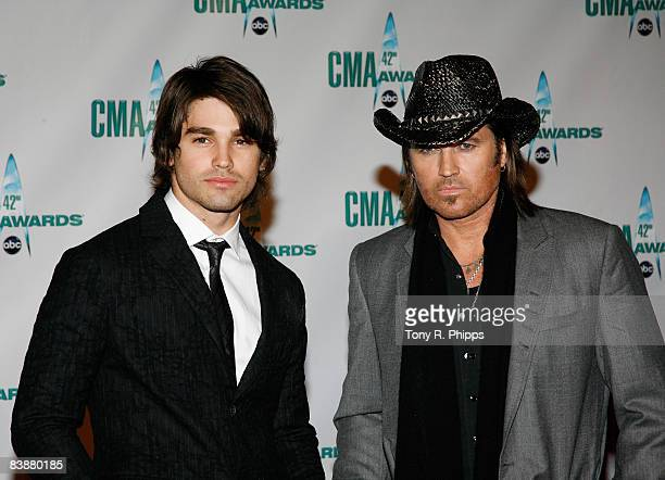 Singer Billy Ray Cyrus and model Justin Gaston attend the 42nd Annual CMA Awards at the Sommet Center on November 12 2008 in Nashville Tennessee