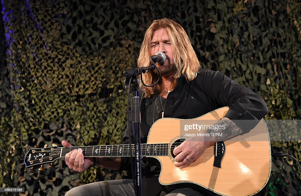 Singer Billy Ray Cyrus performs during the Salute To Heroes service gala to benefit The National Foundation For Military Family Support at The Majestic Downtown on March 14, 2015 in Los Angeles, California.