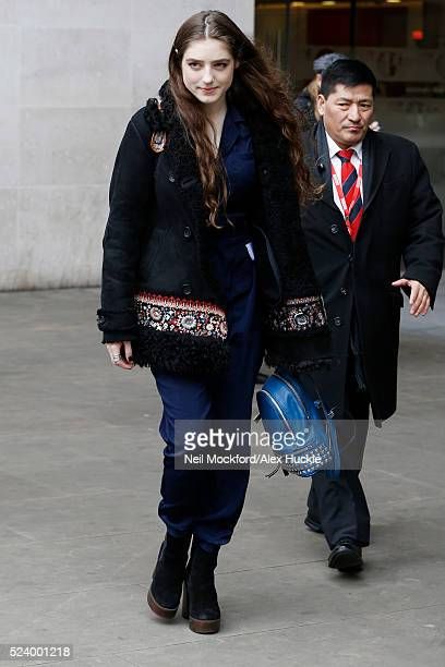 Singer Birdy seen leaving the BBC Radio 1 Studios Portland Place on April 25 2016 in London England