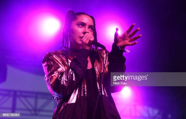 Singer Bishop Briggs performs onstage at the Gobi Tent during day 3 of the Coachella Valley Music And Arts Festival at the Empire Polo Club on April...