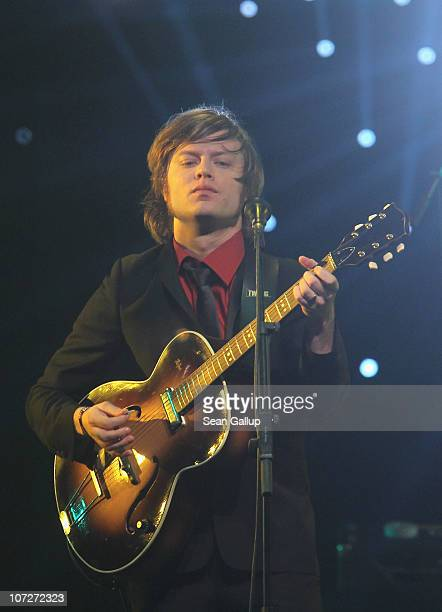 Singer Bjoern Dixgard of the band Mando Diao performs at the '1Live Krone' Music Awards at the Jahrhunderthalle on December 2 2010 in Bochum Germany