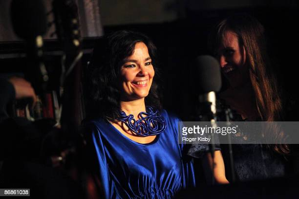 Singer Bjork and The Dirty Projectors perform onstage at Housing Works Bookstore Cafe's 'Live from Home' benefit concert series at Housing Works...