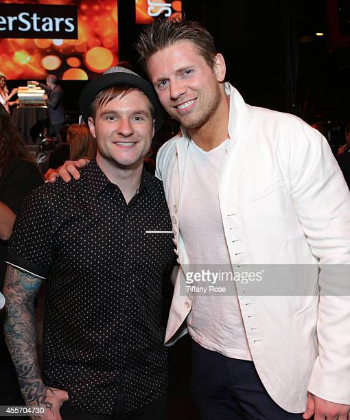 Singer Blake Lewis and wrestler The Miz attend Get Lucky For Lupus LA on September 18 2014 in Beverly Hills California