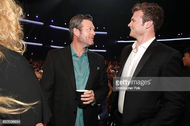 Singer Blake Shelton and actor Derek Theler attend the People's Choice Awards 2017 at Microsoft Theater on January 18 2017 in Los Angeles California